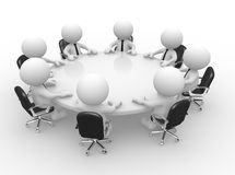 Conference table. 3d people - men, person at conference table. Business meeting Royalty Free Stock Photo