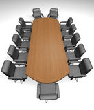 Conference table. And armchair on white background - 3d render vector illustration
