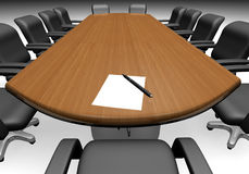 Conference table. With a paper and a pen - 3d render stock illustration