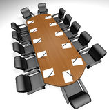 Conference table. With papers and pens - 3d render vector illustration