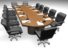 Conference table. And armchair on white background - 3d render royalty free illustration