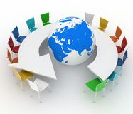 Conference table as an arrow with globe Royalty Free Stock Photography
