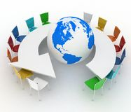 Conference table as an arrow with globe Stock Photo