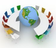 Conference table as an arrow with globe Stock Images