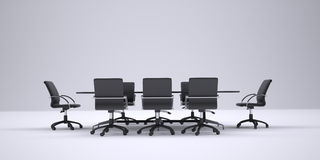 Conference table and black office chairs. Front Stock Images