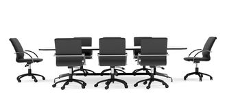 Conference table and black office chairs. Front Stock Photography