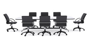 Conference table and black office chairs. Isolated Stock Images