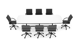 Conference table and black office chairs. Top view Stock Photos