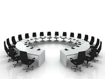Conference table and chairs with microphones Stock Images
