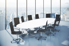 Conference table with chairs  in an office with city view Royalty Free Stock Image