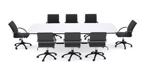 Conference table and eight black office chairs Royalty Free Stock Photography