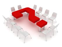 Conference table in the form of a question mark an Royalty Free Stock Photography