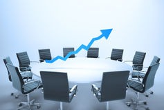 Conference table graph. Conference table with a 3d chart - business outlook concept Stock Photo
