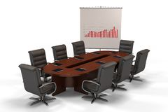 Conference table with graph on screen isolated Royalty Free Stock Photos