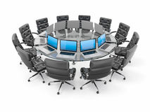 Conference table with laptops and armchairs Stock Images