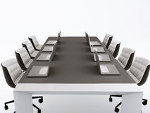 Conference table and meeting room.3d illustration. isolated whit. Image of empty meeting room and conference table with laptop. 3d illustration Stock Photo