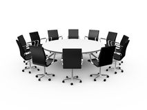 Conference Table and Office Chairs. Conference round table and black office chairs in meeting room, isolated on white background Royalty Free Stock Photo