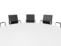Conference Table and Office Chairs. Close up conference round table and black office chairs in meeting room, isolated on white background Royalty Free Stock Images