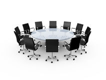 Conference Table and Office Chairs. Conference round table and black office chairs in meeting room, isolated on white background Stock Image