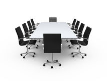 Conference Table and Office Chairs. Conference table and black office chairs in meeting room, isolated on white background Royalty Free Stock Images