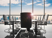Conference table and office chairs. 3d rendering empty conference table and office chairs Royalty Free Stock Photo