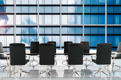 Conference table and office chairs. 3d rendering empty conference table and office chairs Royalty Free Stock Photos
