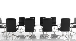 Conference table and office chairs. 3d rendering empty conference table and office chairs Stock Image