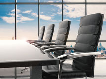 Conference table and office chairs. 3d rendering empty conference table and office chairs Royalty Free Stock Image