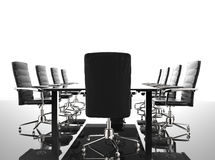 Conference table and office chairs. 3d rendering empty conference table and office chairs Stock Photos