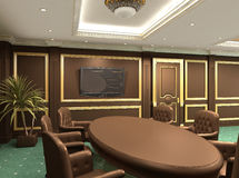 Conference table in royal office interior space Stock Photos