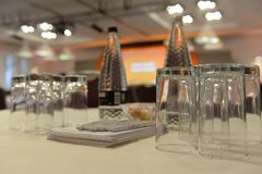 Conference table setting Stock Photos