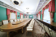 Conference table in State Council. MOSCOW - APRIL 24: Conference table in Green Hall of guest annexe in Grand Kremlin Palace on April 24, 2012 in Moscow, Russia Stock Photos
