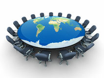 Conference table with world map Royalty Free Stock Images