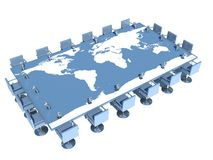 Conference table with world map.  Stock Images