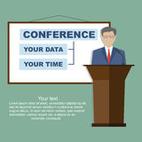 Conference. Template, vector illustration with space for your texts. Public speaker business . Flat style, modern design Royalty Free Stock Images