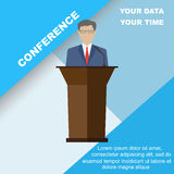 Conference. Template, vector illustration with space for your texts. Public speaker business . Flat style, modern design Stock Photo