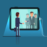 Conference video call via huge tablet computer Royalty Free Stock Image
