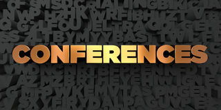 Conferences - Gold text on black background - 3D rendered royalty free stock picture Stock Photos