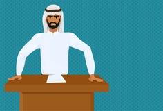 Conferencia árabe de Leading Speech On del hombre o del político de negocios o presentación de la reunión que se coloca en la tri stock de ilustración