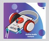Conferencia audio en línea para el concepto isométrico de las ilustraciones de la educación stock de ilustración