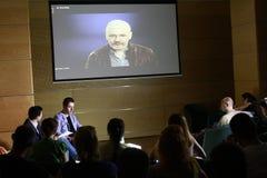 Conferencia de Julian Assange imagen de archivo libre de regalías