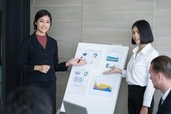 Conferencia de Team Business que hace la presentación a un grupo en el meeti Imagen de archivo libre de regalías