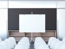 Conferentieruimte met het lege scherm het 3d teruggeven Stock Afbeelding
