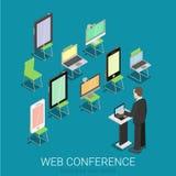 Conferenza online 3d piano di web di Internet isometrica: compressa del computer portatile Immagini Stock