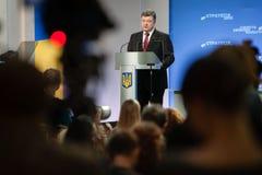 Conferenza stampa del presidente dell'Ucraina Petro Poroshenko Fotografie Stock