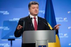 Conferenza stampa del presidente dell'Ucraina Petro Poroshenko Fotografie Stock Libere da Diritti