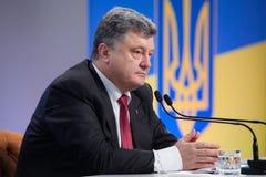 Conferenza stampa del presidente dell'Ucraina Petro Poroshenko Immagine Stock