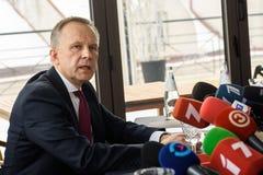 Conferenza stampa di Ilmars Rimsevics Fotografia Stock