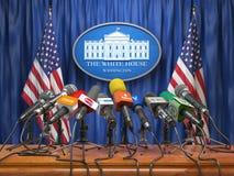 Conferenza stampa di presidente nella Casa Bianca Washington MI illustrazione di stock