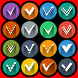 Confermi i segni e le icone del segno di spunta messe Fotografie Stock